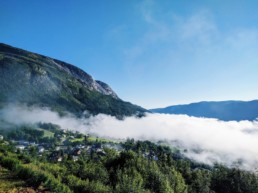 Fog rolling over a mountain in Norway